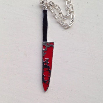 Dexter Bloody Kitchen Knife Necklace  Burke Hare Sweeny Todd Jason Horror