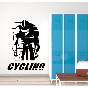 Vinyl Wall Decal Cycling Words Cyclist Race Bike Sport Art Stickers Mural (g1095)