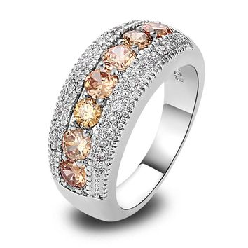 lingmei  2017  Chamapagne Morganite Silver Band Ring Size 6 7 8 9 10 11 12 13 New Fashion Ring Jewelry  For Women