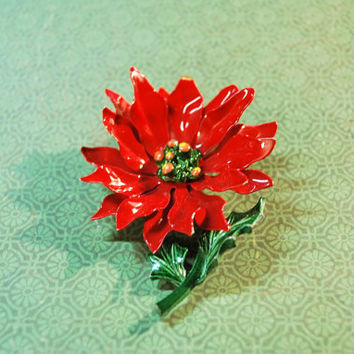 Vintage Christmas Poinsettia Painted Metal Enamel Brooch Statement Pin
