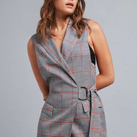 Silence + Noise Brendan Pinstripe Belted Vest | Urban Outfitters