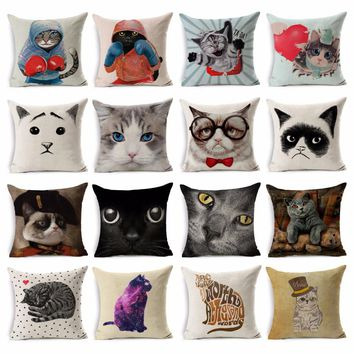 Cute Cartoon Cat Pattern Decorative Pillow Covers Cotton Animal Cushion Cover Chair Seat Waist Square 45x45cm Throw Pillowcase