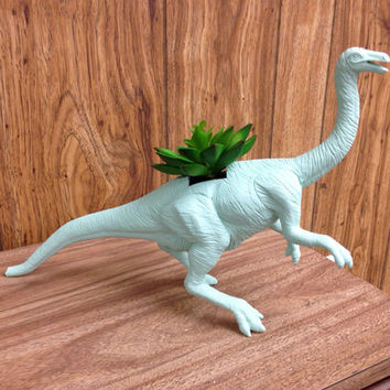 Huge OOAK Recycled Struthiomimus Dinosaur Planter