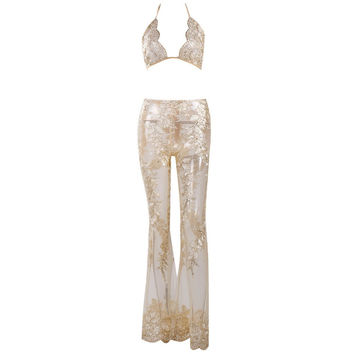 See Through Embroidered Jumpsuit