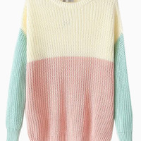Vintage Knitted Jumper In Contrast Color - Choies.com