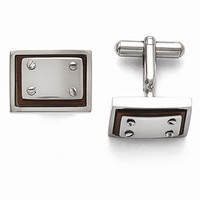 Men's Stainless Steel Polished Wood Inlay Cuff Links - Engravable Gift Item
