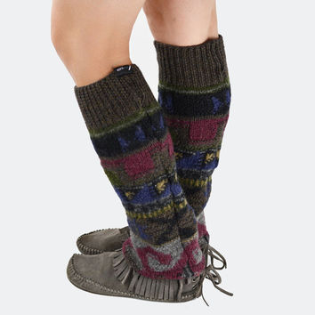 Grunge Leg Warmers in Olive Green Brown Burgundy Blue and Gold - Upcycled Wool Sweater - OOAK