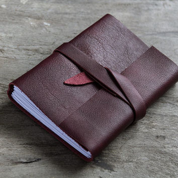 Leather journal, leather notebook, travel journal, travel notebook, leather diary sketchbook, blank book, hand bound, hand sewn burgundy