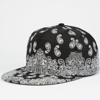 Bandana Snapback Hat Black One Size For Men 25169110001