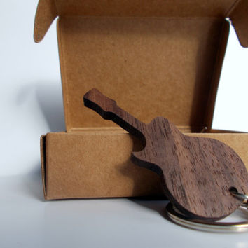 Walnut Guitar keychain for your keys or GIFT for all music lovers!