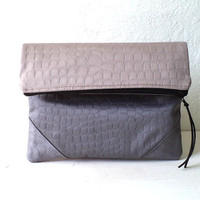 Vegan Clutch, handbag,  fold over clutch, Faux Crocodile bicolor in light taupe color and light grey, minimal, Ready To Ship.