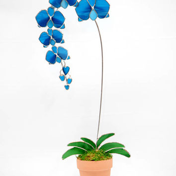 """Custom-Havhavsmom-3D  Blue Stained Glass Orchid, Glass Flowers, Mothers Day Gift,  Made in USA, Orchid Suncatcher, Gift for Mom, 19"""" x 8""""."""