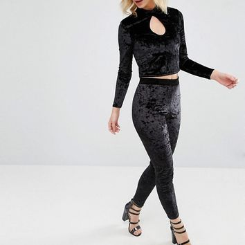 Miss Selfridge Petite Velvet Co-Ord at asos.com