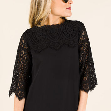 Classy Lace Top, Black