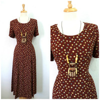 1980s Dress // Brown Polka Dot Dress// 80s rayon dress // Grunge Dress M