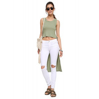 Green Sleeveless Cropped Front Long Back Top
