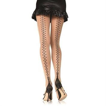 Corset Lace Up Back Pantyhose - Nude - One Size