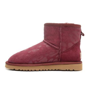 ESBON UGG 1006752 Leopard Women Fashion Casual Wool Winter Snow Boots Red