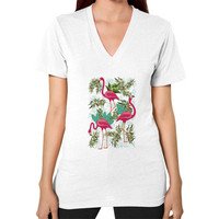 Pink Flamingos Exotic Birds V-Neck (on woman)