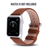 Apple Watch Bands 38mm, Fullmosa Yan Series Lichi Calf Leather Strap Replacement Band with Stainless Metal Clasp for Apple Watch Series 1 Series 2,Brown