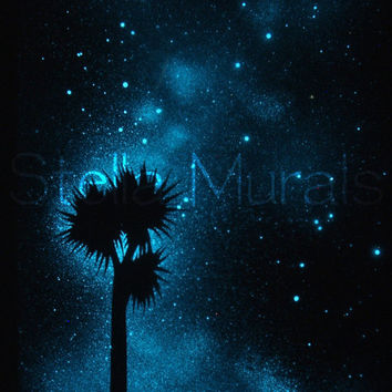 New Zealand Summer Night - Glow in the Dark Star Poster - The Southern Cross