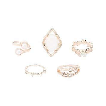 Embellished Stacking Rings - 5 Pack | Charlotte Russe