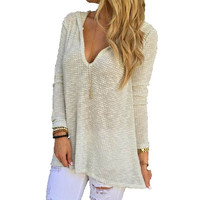 QS Women Fashion Spring and Winter Sexy Deep V-neck Casual Knitted T-shirt Long Sleeve Tops,White = 5709366849