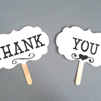THANK YOU Photo Prop Photo Booth Props Set of 2 Thank You Sign Wedding Photo Props Wedding Day Props