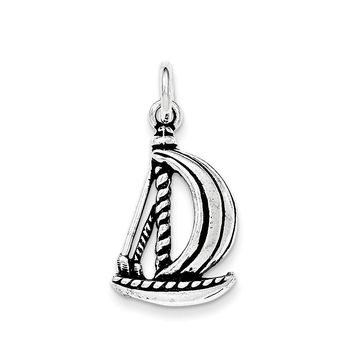 Sterling Silver Antiqued Sail Boat Pendant