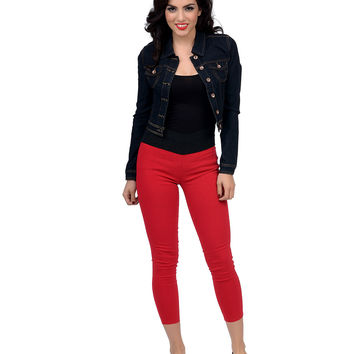 Red High Waisted Ponte Stretch Capris