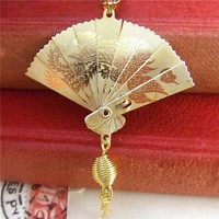 Geisha  Gold Oriental Folding Fan Necklace by pennymasquerade