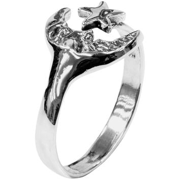 Moon & Star Wrap - Silver Ring