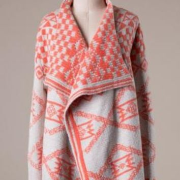 Tribal Romance Aztec Print Knit Cardigan in Coral | Sincerely Sweet Boutique