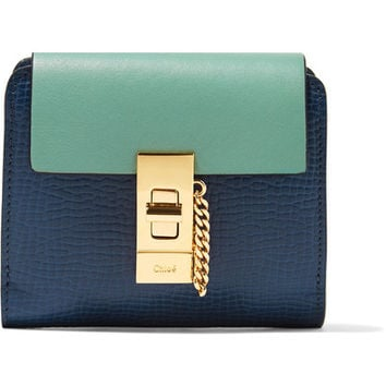 Chloé - Drew two-tone smooth and textured-leather wallet
