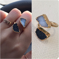 24k Gold Plated Adjustable Druzy Ring