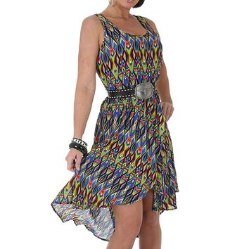 Wrangler Women's Rock 47 High Low Wrap Print Patten Sleeveless Dress - LJD201M