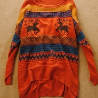 Product search_Loose Vintage Adorable Deer Sweater Orange_udobuy - Fashion Dress with Free Shipping