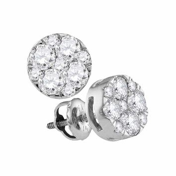 14kt White Gold Women's Round Diamond Cluster Earrings 1.00 Cttw - FREE Shipping (USA/CAN)