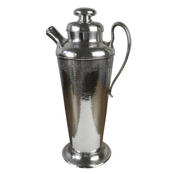 Vintage 1920s Silver Cocktail Shaker, Beautiful Engraved Pattern