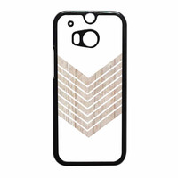 White Geometric Minimalist With Wood Grain HTC One M8 Case