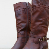Izzy Tall Cowboy Cut Boot By XOXO {Brown}