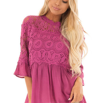 Berry Drop Waist Top with Crochet Lace Overlay
