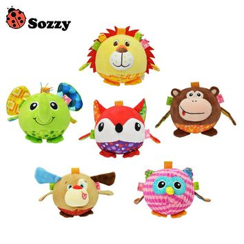 Sozzy Baby Colorful Soft Stuffed Plush Animal Bed Rattles Bell Cloth Ball Elephant Early Education Developmental Hand Grasp Toy