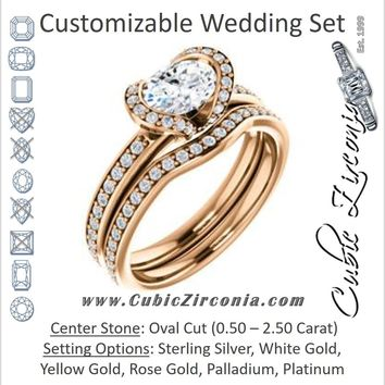 CZ Wedding Set, featuring The Victoria engagement ring (Customizable Bezel-set Oval Cut Semi-Halo Design with Prong Accents)