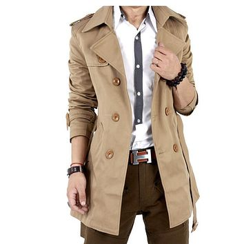Trench Coat Men Classic Men's Double Breasted Trench Coat Masculino Mens Clothing Long Jackets & Coats British Style Overcoat