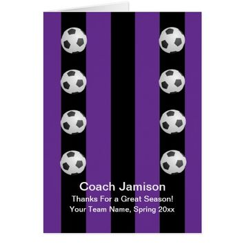 Soccer Ball Card for Coach, Purple, Blank Inside