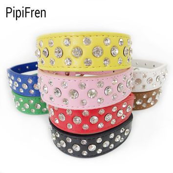 PipiFren Small Cats Dogs Collars Rhinestone For Pet Accessories Puppy Necklace Chihuahua Supplies Pitbull Personalized Halsband