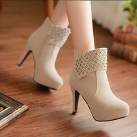 Rivet Side Zipper Super High Heels Shoes 6879SD