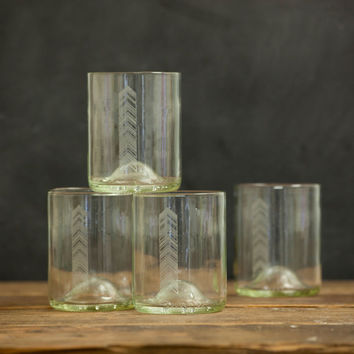 Reclaimed Wine Bottle Chevron Drinking Glasses - Set of 4 - Clear // Glassware or whiskey glasses // hostess gift, kitchen gift