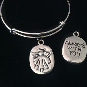 Always With You Guardian Angel Silver Expandable Charm Bracelet Adjustable Wire Bangle